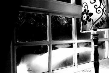 photo of window with exterior view of snowdrifts at night