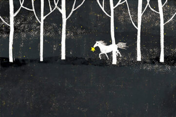 illustration of a white horse carrying a star in its mouth