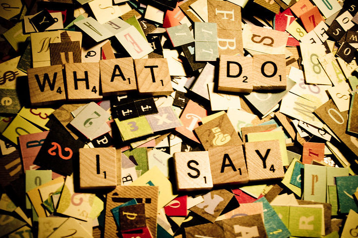photo of Scrabble tiles and scrapbook letters