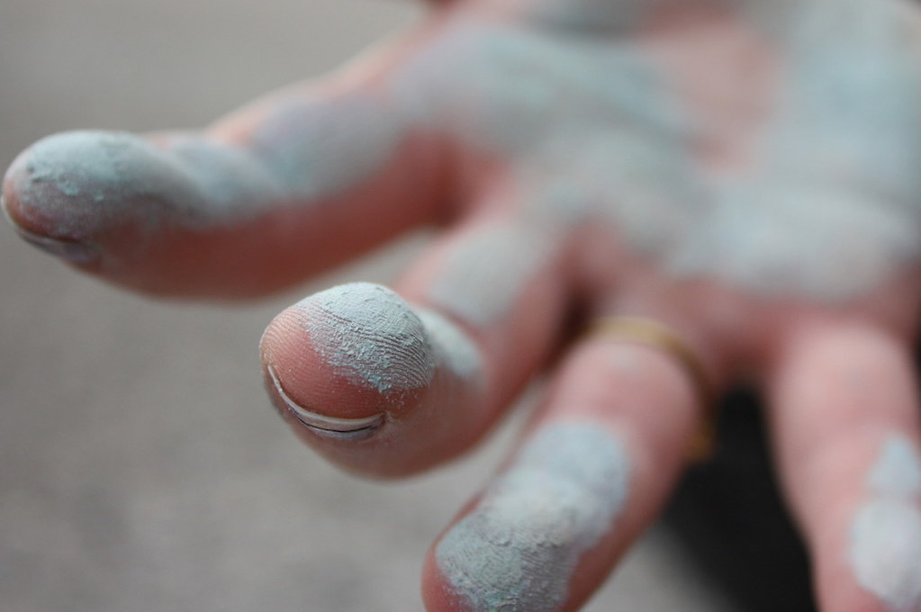 photo of hand covered in chalk